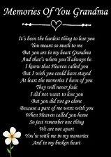 Memories Of You Grandma Memorial Graveside Poem Card & Free Ground Stake F79