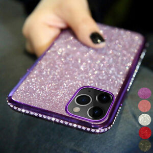Plating Bling Sparkling Diamond Case Shockproof Rubber Silicone Soft Phone Cover