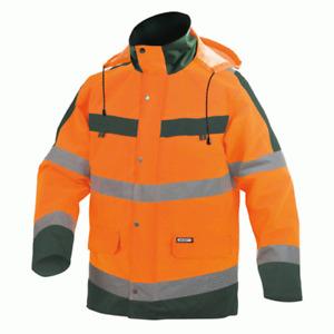 DASSY Atlantis Waterproof Hi-Vis Parka Coat Jacket - Orange/Green