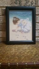 """Adorable & Hard to Come by Nancy Cole's """"Counting Seashells"""" Framed Art Print"""