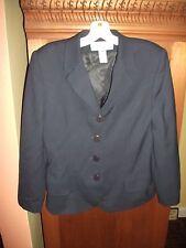 RENA ROWAN SAVILLE Womens 10P Navy Blue Wool 4 Button Blazer BARELY WORN