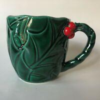 Vintage Lefton Christmas Holly & Berry Coffee Cocoa Mug Japan Green 1366
