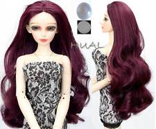 "8-9-10"" 1/3 BJD Dark Wine Red Long Larger Curve Wig LUTS Doll SD DOD MSD Hair AL"