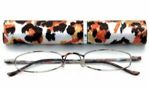 Calabria 790 Animal Print Tube Reading Glasses w/Matching Case Style D +1.00