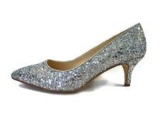 Kurt Geiger Kitten Heels Silver Glitter Court Shoes Pointed Toe Nine West Size 4