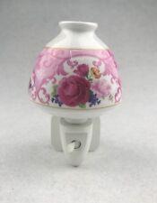 Pink Rose Floral Flower Porcelain LED Night Light On/Off Switch Nightlight