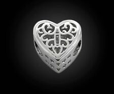 Silver Filigree European Beads Locked Heart Charms For European Charm Bracelets