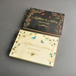 Guestbook Wedding Love Butterflies Personalized Bridal Shower Engraved Book A4/5