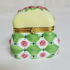 Yellow and Green with Pink Flowers Purse Shaped Ceramic Trinket Box