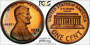 1972-S Lincoln Memorial Cent Penny PCGS PR67RB Deep Superb Color Toned