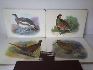 Vintage Clover Leaf Table Mats Placemats Malborough GAME BIRDS 8 Piece Set Boxed