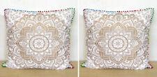 "2 Pcs. Set Of 24X24"" White Gold Square Pillow Cushion Cover Room Sofa Decorative"
