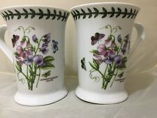 Portmeirion Botanic Garden Pimpernel Coffee Mugs 8013 Sweet Pea Set 2 Mint 4.5""