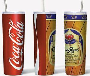 Crown & Coke 20oz Skinny Tumbler custom drinkware with straw