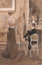 Hermann Vogel. Aquarelle lavis et gouache. Intérieur bourgeois. Vers 1900