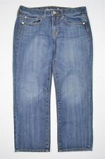 American Eagle Sz 4 Boy Fit Crop Medium Wash Pure Cotton Denim Jeans