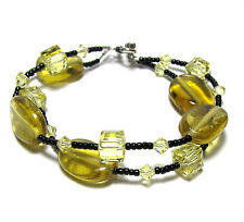 Great Double Strand Yellow & Black Glass Beaded Bracelet Sterling Silver Clasp
