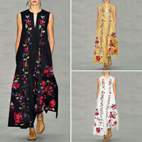 Women Floral Printed V Neck Sleeveless Loose Party Evening Long Maxi Dress Abaya