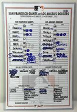 GAME-USED LINEUP CARD ZACK GREINKE CAREER WIN #138 v BUMGARNER w/ BOCHY AUTO MLB