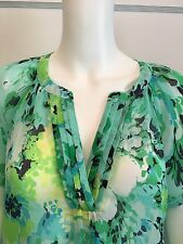 Sheer Floral Blouse Petite Large Boho Peasant Tunic Blue Green Yellow