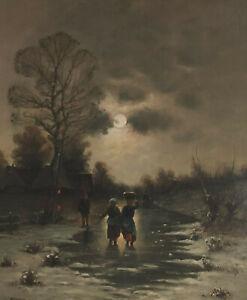Painting Signed Hamid Mehrnia 1942 Village Winter Full Moon