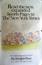 "SEMPE NEW YORK TIMES ADVERTISING POSTER FOOTBALL 30"" X 46"" VERY RARE"