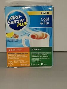 Alka Seltzer Plus Severe Cold and Flu Day/Night Powder 12 Count Exp 4/22