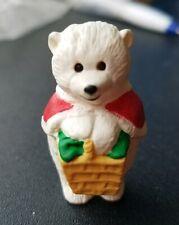 Vintage 1990 Hallmark Merry Miniatures Mama Polar Bear Basket Cape Winter Xmas