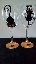 Black Cats And Mouse Hand Painted Pair Large Washable Wine Glasses