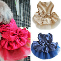 Lot Puppy Dog Wedding Dress Bowknot Lace Party Pet Clothes Costume Apparel New