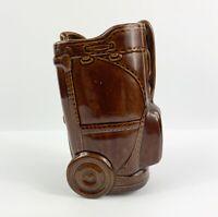 Golf Bag Pencil Holder Vase Planter Pot Sports Club Vintage Ceramic Porcelain