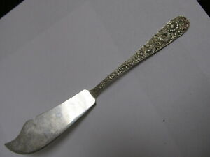 "S KIRK & SON INC REPOUSSE STERLING SILVER MASTER BUTTER KNIFE 7 1/8"" XLNT COND"