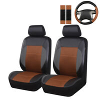 Universal Car Seat Covers CAYENNE Steering Wheel Cover Set 2 Front Seat Leather