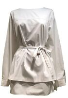 ELIE TAHARI LONG-SLEEVE WHITE BELTED BLOUSE, M, $445