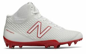 New Balance Men's Mid-Cut Burn X Lacrosse Cleat Shoes White with Red