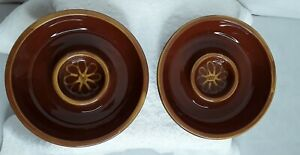 "New Williams Sonoma Margarita Chip and Dip Clay Bowls Set of Two 7"" Brown"