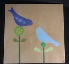 Original Petit Collage art on wood, Lorena Siminovich, 2 birds, signed, numbered