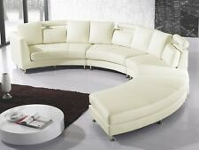 Canapé en cuir, Sofa en cuir, Canapé rond, blanc, Canapé design