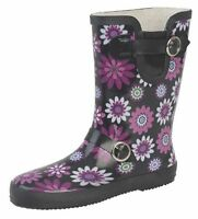 LADIES WOMENS SIZE 4 5 6 7 8 BLACK PURPLE WHITE FLOWER WELLINGTONS WELLY BOOTS