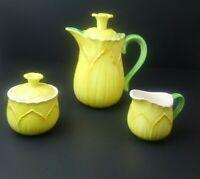 VTG Taste Seller By Sigma Daffodil Teapot Set Creamer Sugar Coffee Tea