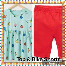 NWT HANNA ANDERSSON Girls Blossom Popover Skirted Floral Top & Bike Shorts sz 5