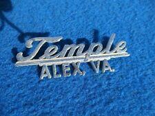 Vintage Original Metal Dealer Name Plate TEMPLE  ALEX, VA