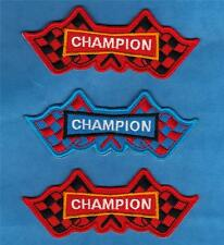 """CHAMPION CAR MOTORCYCLE RACING FLAG SPARK PLUG Sew On Iron On PATCH SET 4"""" New"""