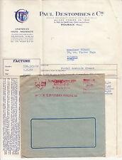 FACTURE grande avec ENVELOPPE PAUL DESTOMBES ROUBAIX 6 rue foch draperie 1960