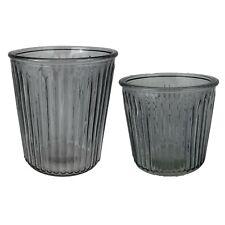 Windlicht geriffelt Deko Vase 2 Größen 13,5cm oder 15cm grau NEU