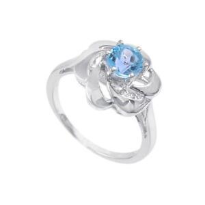 925 Silver Blue Topaz 6 mm Round blue topaz Flower Engagement Ring Promise ring