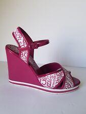 BCBGirls Wedges Sandals Janna Canvas Roseberry White BCBG Logo Ankle Strap 8 B