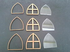 Laser Cut Pack of 3 Gothic Fairy Windows 3mm MDF and 2mm Acrylic Fairies Doors