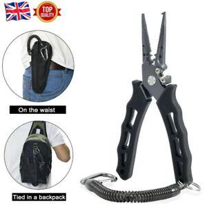 Fishing Pliers Split Ring Hook Removal Line Scissors Braid Wire Cutter w/Bag