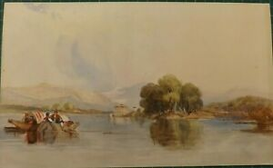 1841 ORIGINAL WATERCOLOUR PAINTING ITALIAN LAKE AND MOUNTAIN VIEW SIGNED VERSO